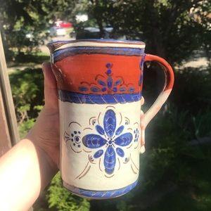 Vintage studio pottery handcrafted pitcher jug